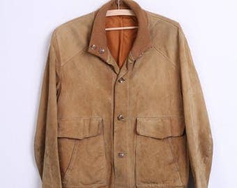 MELCHINGER Mens 52 Jacket Camel Single Breasted Suede Vintage