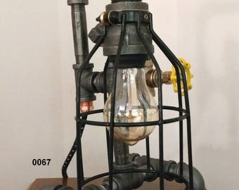 Industrial Pipe Lamp; Cage Lamp; Pipe Lamp; Edison Lamp, Desk Lamp, Table Lamp