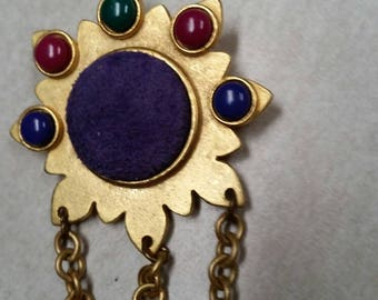 Vintage Mardi Gras Style Suede   Brooch with Lucite Cobachons and Chains