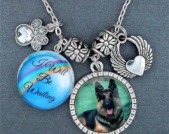 I Will Be Waiting Pet Memorial Necklace With Custom Photo Charm, Rainbow Bridge, Dog Memorial, Cat Memorial, Pet Loss, Grief, Angel Wings