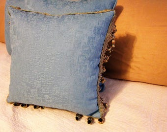 Blue Windows in the Sky with 15x15 in. Pillow with Beaded Tassel Trim.
