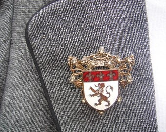 Coro Brooch-Heraldic Rampant Lion with Fleur Di Lis Coat of ArmsShield Brooch Pin- Scottish Royal Lion-Coro Signed with Pegasus
