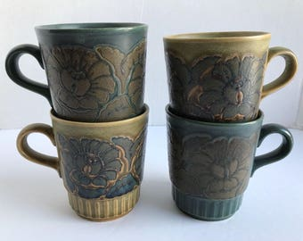 Royal Alma Mugs Vintage Retro Set Of 4 Stoneware Floral 1970s  Green Blue Coffee