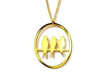 Necklace three pretty swallows Golden