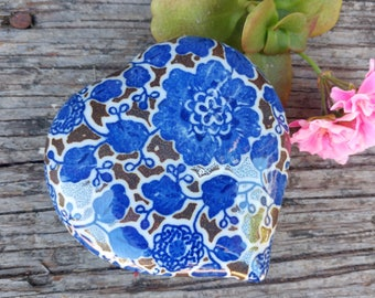 Vintage Cobalt Floral Heart Trinket Box // Takahashi Ceramic Jewelry Box