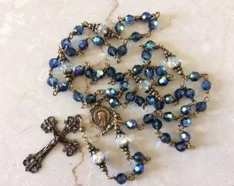 Wire-wrapped Montana Blue AB Swarovski Crystal Rosary Bronze Crucifix