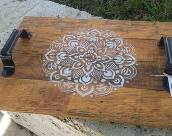 Rustic Mandala serving tray on recycled wood pallet