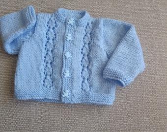 Hand knitted newborn baby cardigan