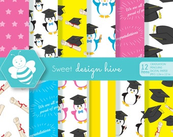 Graduation digital papers, Graduation papers, Graduation scrapbook papers, graduation cap papers, graduation penguin, commercial use, DP0020