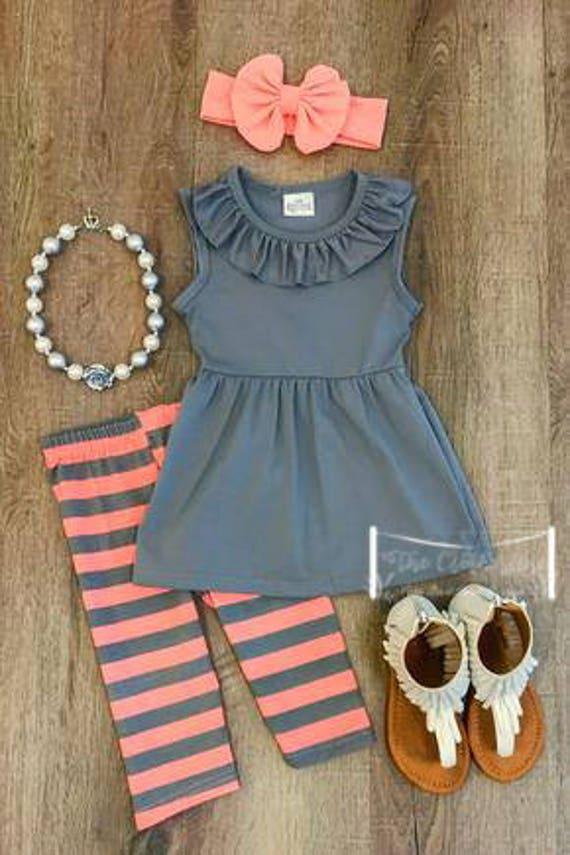 Gray Coral striped set