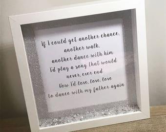 Dance With My Father Song Lyrics Box Frame - Gift - Lyrics