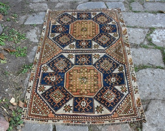 Pastel Color Vintage Turkish Rug Free Shipping Decorative Turkish Rug 3.4 x 5. feet Oushak Rug Anatolian Bohemian Decorative Rug DC784