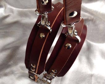 Ankle cuffs with leather strap