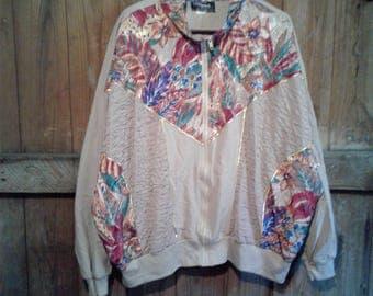 Baroque Style Floral Jogger Jacket Size Medium