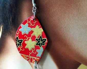Japan, original Japanese washi paper earrings, faceted orange agate. Gift for an original woman and color lover