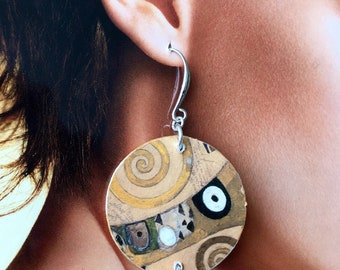 KLIMT, pearl and paper earrings, the Tree of life, artistic earrings, originals, lightweight, steel components Nikel free