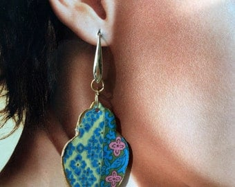 Japan, Washi paper earrings, faceted pink agate, blue crystal washer. Spring 2018 is coming!
