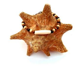 Wood Bead w/ Faux Bone Bracelet