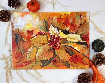 Acrylic Painting on Paper - Leaves, Autumn/Fall Home Decor, Contemporary Art