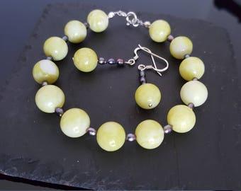 Lemon Jade and pearl gemstone bracelet set