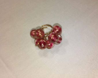 Fuscia and Golden stripes glass beads ring