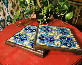 Tile and Wood Trivet, Blue and Yellow Tile Trivet