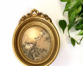 Vintage Homco Bird Print in Gold Ornate Frame