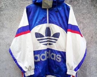 Vintage Rare! ADIDAS BIG LOGO Colorblock Half Zipper Hoodie