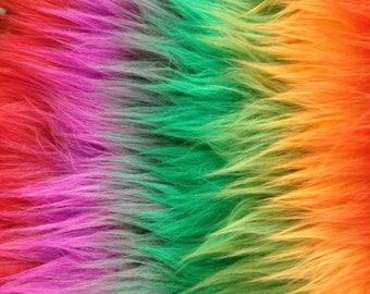 "Rainbow Faux Long Pile Fur Fabric Toys Costumes Width 59"" (150 cm)"