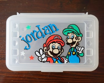 Super Mario Bros Personalized Pencil Box, hand painted school supplies storage, kids party favor, super mario party favors art supplies
