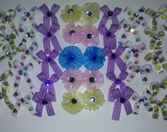 """50 grooming bows """"Emoji,Cupcake,Butterfly, Purple"""""""