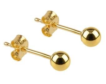 9ct Yellow Gold Ball Stud Earrings | Light Weight Gold | Minimalist | Everyday Jewellery | Dainty | Simple | 3-6mm | Fine Jewellery | SIEFF