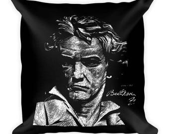 Beethoven Square Pillow | Classical Music | Great Composer | Unique | Holiday Gift Idea