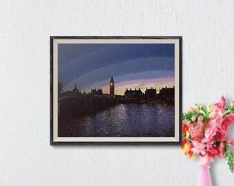 London Skyline, London Print, London Poster, London Wall Art, London Cityscape, London Skyline Print, London Landscape, London Wall Art