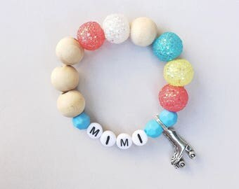 Totally 80's Chunky Personalized Rollerskate Charm Bracelet