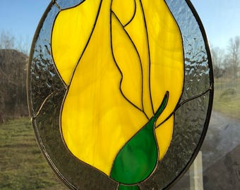 Yellow Rose Bud Stained Glass Suncatcher