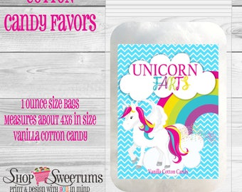 Unicorn Farts cotton candy party favors set of 12