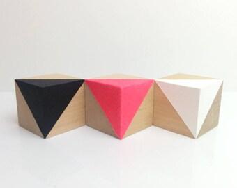 Neon Nursery Decor . Wooden Baby Blocks . Wooden Nursery Decor . Neon Pink Home Decor . Black White & Pink . Geometric Home Decor .