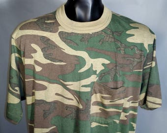 80s Signal Green Camo Blank Ringer Tee Sz XL Made in USA Camouflage Super Soft Polycotton Worn Basic 1980s Retro Fit Army Military Grunge