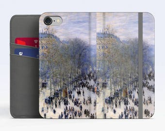 "Claude Monet, ""Boulevard des Capucines"". iPhone 8 Wallet case, iPhone 7 Wallet case  iPhone 6 Plus Wallet case. Samsung Wallet cases."