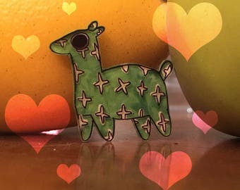 Tiny Cute Green Stuffed Horse Star Patterned Shrink Pin