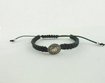 92.5 Solid Sterling Silver Pave Diamond Bead Bracelet Rosecut Polki Diamond  Black Thread Bracelet Bangle