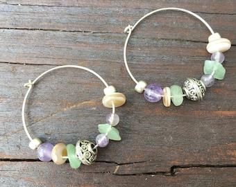 Hoop Earrings Sterling silver, semi-precious stone, minimalist, sweet hoop earrings
