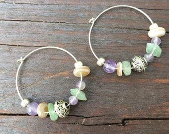 Sterling silver, semi-precious stone, hoop earrings