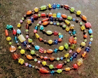 Rainbow Beads Necklace/Multicolor Long Necklace/Italian Glass Beads Necklace/Vintage Glass Beads Necklace/Very Long Necklace/No.041