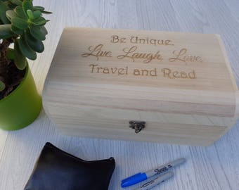 Personalised Wooden Engraved Treasure Chest Box Various Sizes