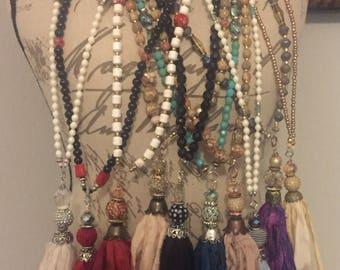BoHo Chic Silk Tassle Necklace