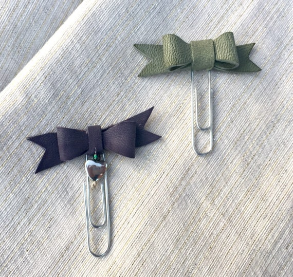 Set of two handmade real leather bow planner paperclips, Planner charm, Bow charm.  Purple and sage green