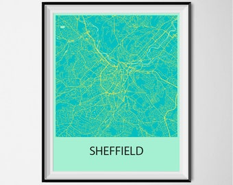 Sheffield Map Poster Print - Blue and Yellow