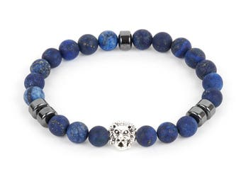 Lapis Men's Bracelet with Lion Head Bead